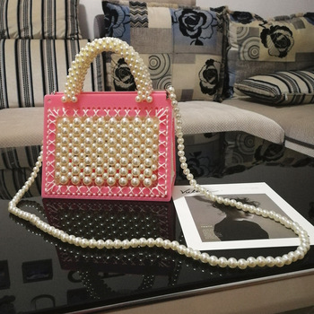 2020 Luxury Pearl Chain Shoulder Messenger Bags for Women Fashion Beading Decoration Handbags Sweet Girl Mini Convenient Wallet
