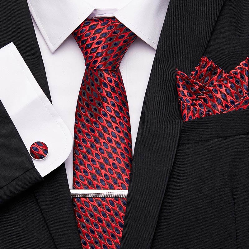 Classic Party Wedding Business Men's Fashion 100%Silk 7.5CM Men Tie Necktie Handkerchief Cufflinks Tie Clips Set 4Pcs12601
