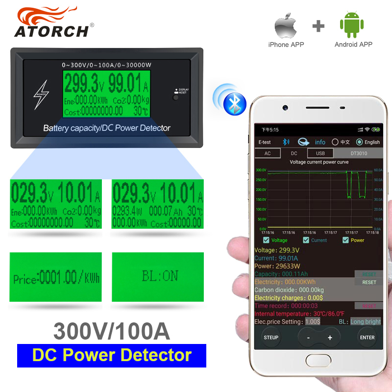 ATORCH DC 300V 100A Accurate Energy Bluetooth Meter Voltage Current Power Voltmeter Ammeter Overload Alarm Function Indoor