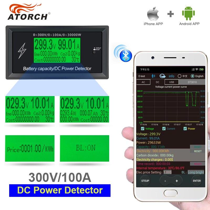 Atorch dc 300 v 100a energia exata medidor de bluetooth tensão corrente de energia voltímetro amperímetro sobrecarga função de alarme interior