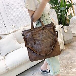 Image 2 - Sac fourre tout Vintage pour femmes, sac pour ordinateur portable de bureau, sacoche à bandoulière de marque, décontracté