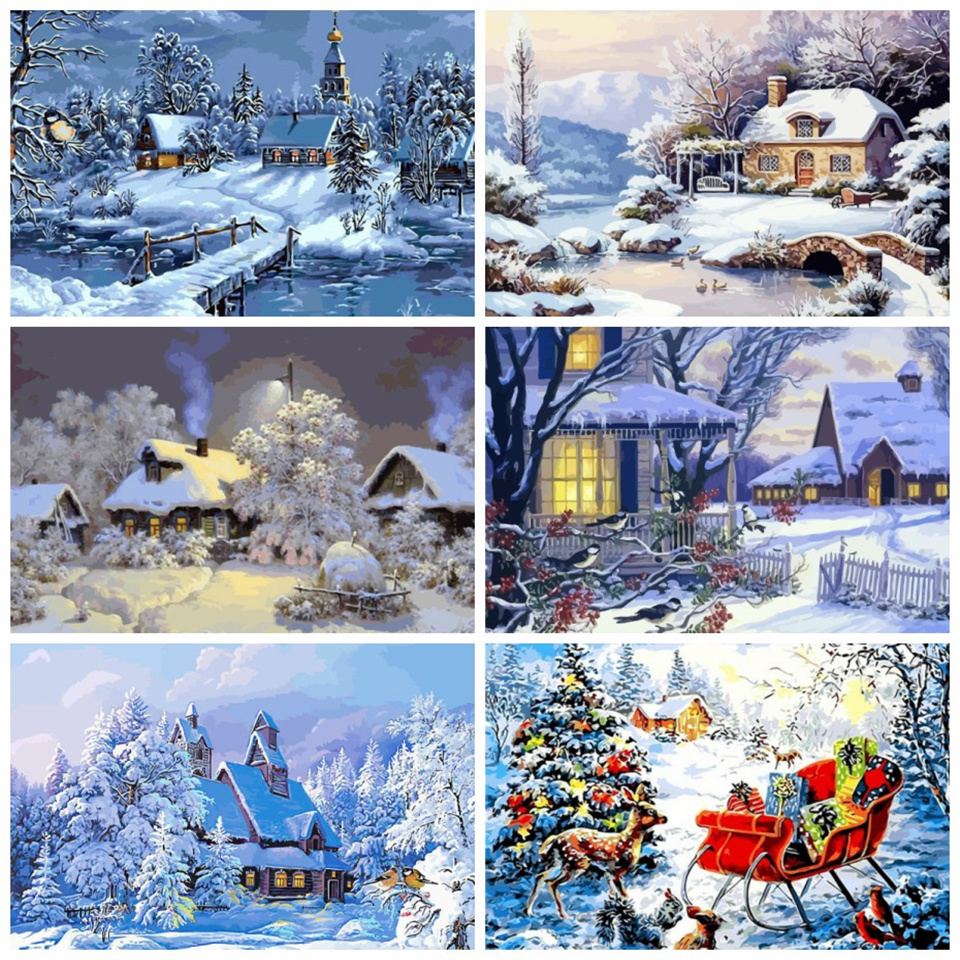 AZQSD DIY Winter Scenery Oil Painting By Numbers Full Kits Paints By Number Canvas Painting Home Decor 50x40cm For Adults(China)