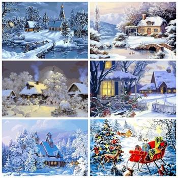 Peinture à numéros / paysages d'hiver 50x40 cm