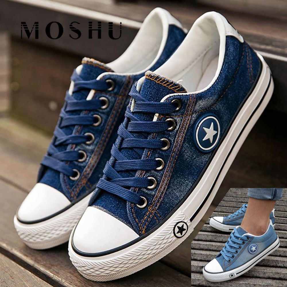 Fashion Sneakers Women Denim Casual Shoes Tenis Canvas Shoes Female Trainers Lace Up Basket Femme Vulcanize Shoes