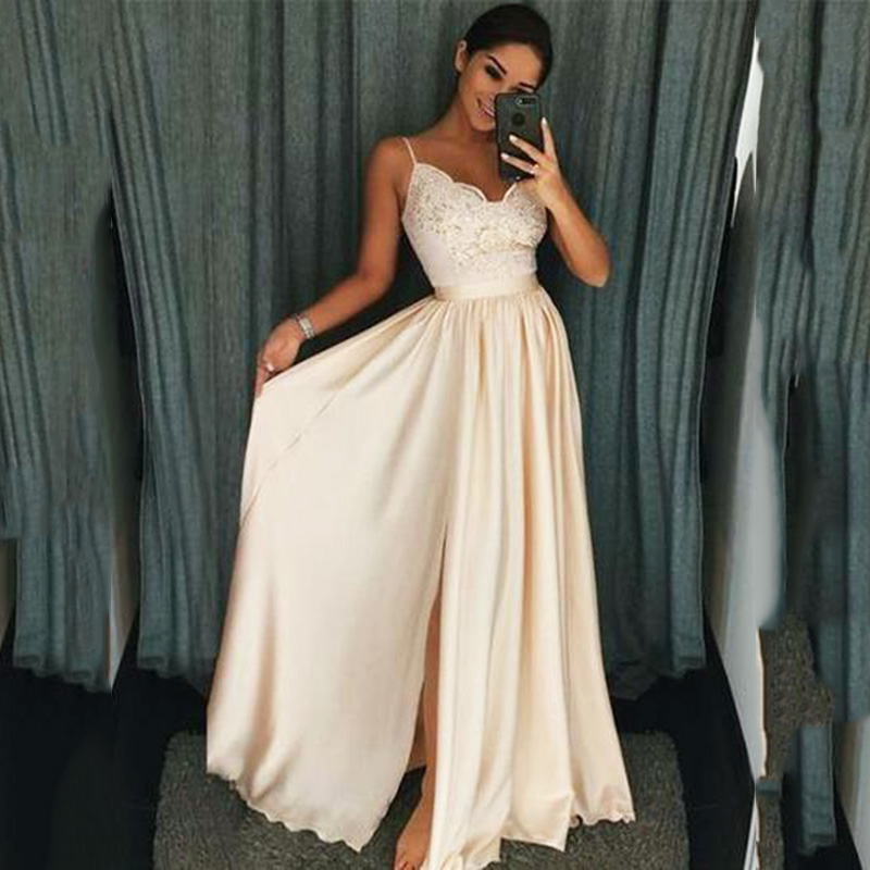 Elegant Ivory Women A-line Long   Prom     Dress   Lace Satin High Split Wedding Party   Dress   Formal Women   Dresses   2019