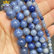 Natural Stone Blue Aventurine Beads Loose Spacer Beads For Jewelry DIY Making Bracelet Accessories 15'' 4 6 8 10 12mm