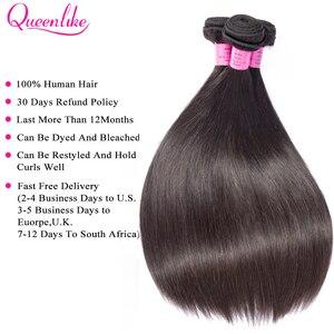 Image 4 - Queenlike 6*6 Vetersluiting En Menselijk Haar Bundels Met 6X6 Sluiting Braziliaanse Hair Weave Bundels Straight 3 Bundels Met Sluiting