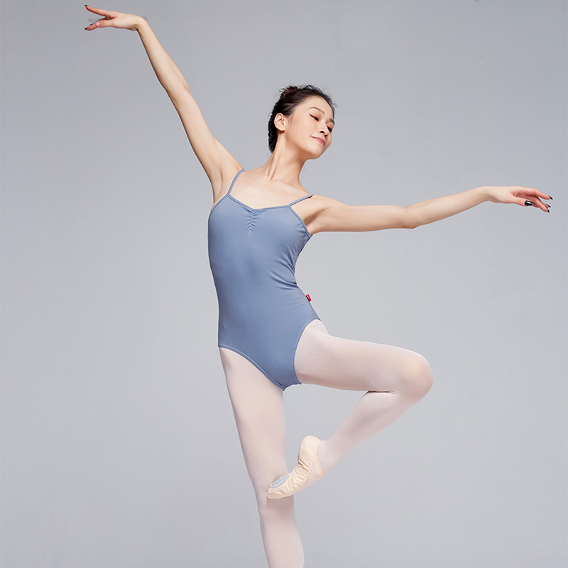 Ballet Leotards For Women Adult Open Back Dance Camisole Blue Ballet Dancewear Resilient Gymnastics Leotards