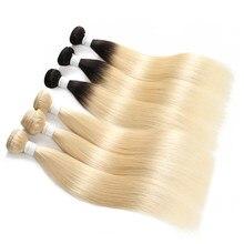 EUPHORIA – tissage en lot brésilien Remy naturel lisse, blond miel ombré 613, Extension de cheveux, 1/3/4 pièces