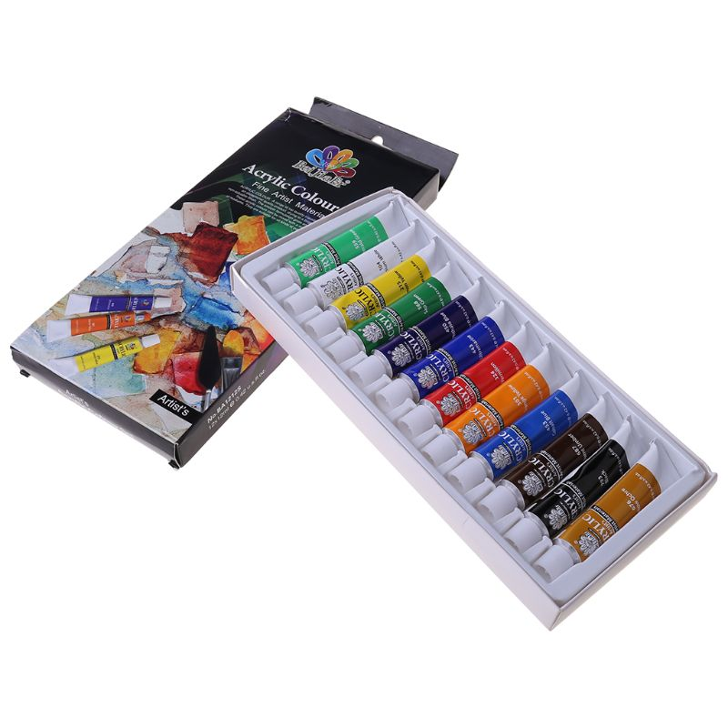 12 Colors 12ml/Tube Acrylic Paint Color Set Acrylic Paints Pigment for Artists Ceramic Stone Wall Craft Paints Color Pigments