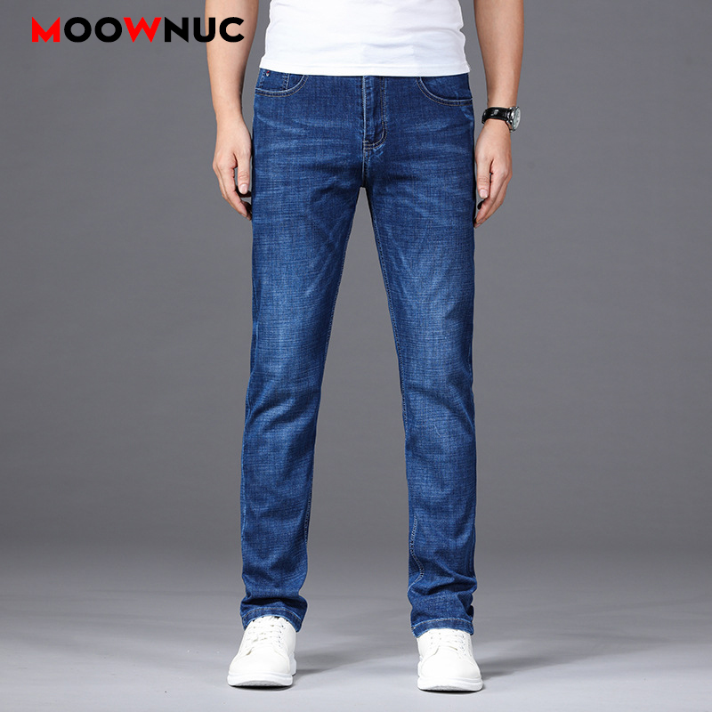 Casual Streetwear Summer Jeans Male Trousers MOOWNUC Pants Classic Mens Jeans Skinny Denim Jeans For Men Slim Designer Straight