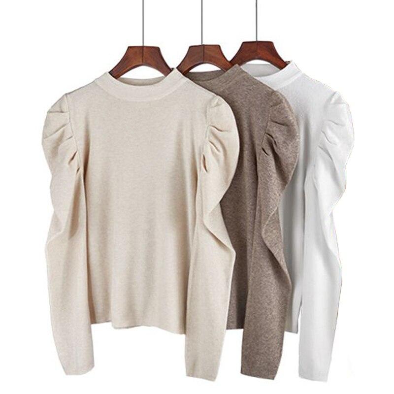 BYGOUBY jesienne zimowe swetry damskie 2020 ubrania wycięcie pod szyją z długim rękawem dzianinowe swetry eleganckie Pull rękaw sweter damski|Pulowery|   - AliExpress