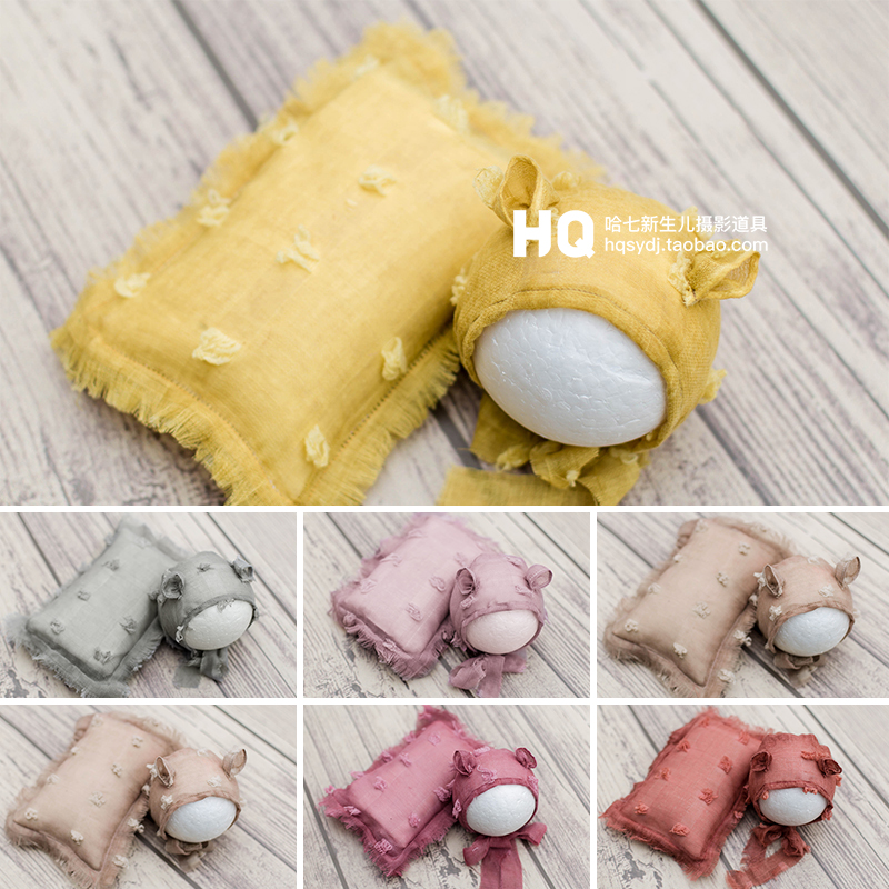 Multifunctional Soft Newborn Photography Wraps Hat And Pillow Set Baby Photoshoot Props Infant Swaddle Wraps Photo Accessories