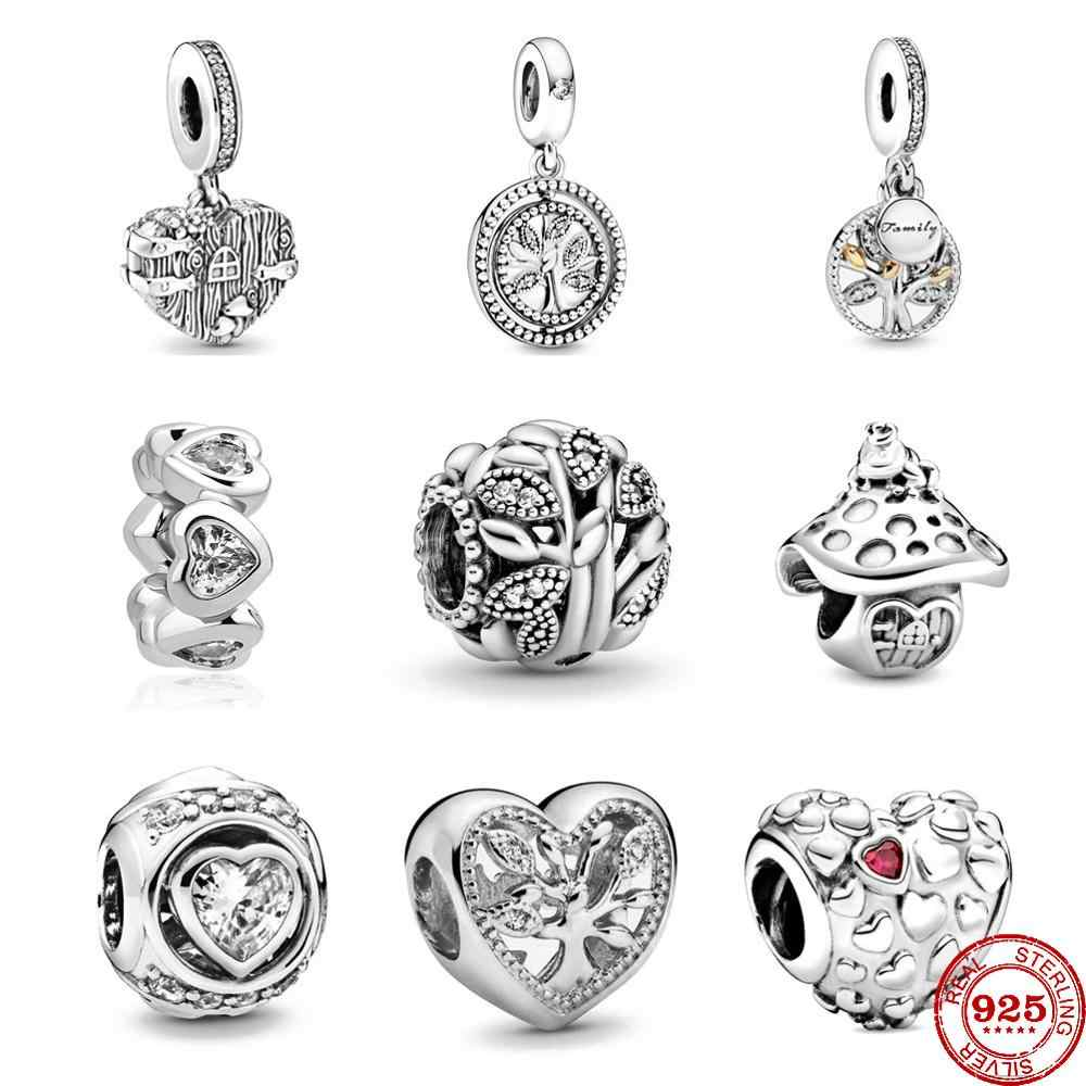 Fit Original Pandora Charms Bracelet 925 Sterling Silver Family Tree Love  Heart Dangle charm bead DIY Jewelry Making Berloque