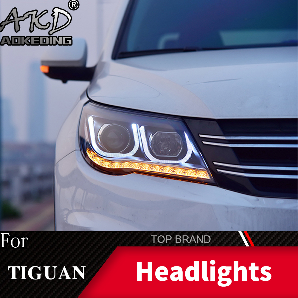 For VW Tiguan 2012-2017 LED Headlights Bulbs H15 High Beams and DRL//H7 Low Beams