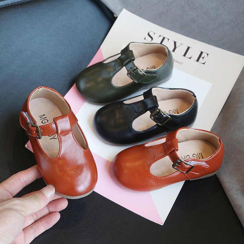 Çocuklar Retro prenses elbise ayakkabı yumuşak düz Espadrilles tek dans ayakkabı Moccasin Toddler bebek kız rahat PU deri ayakkabı