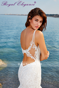 Image 4 - רויאל אלגנטיות בת ים תחרת שמלות כלה ללא שרוולים Fit ואבוקת הכלה שמלות 2020 vestido דה noiva מכס עשה