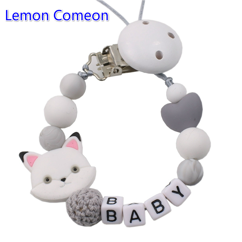 Lemon Comeon Custom Baby DIY Personalize Name Silicone Fox Beaded Pacifier Chain Holder For Nipples Teether Soother Chew Toy