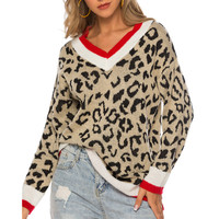 Winter V Neck Knitted Sweater Women Casual Leopard Print Jumper Pullover Long Sleeve Sweater Loose Female Knitwear Sweater Top