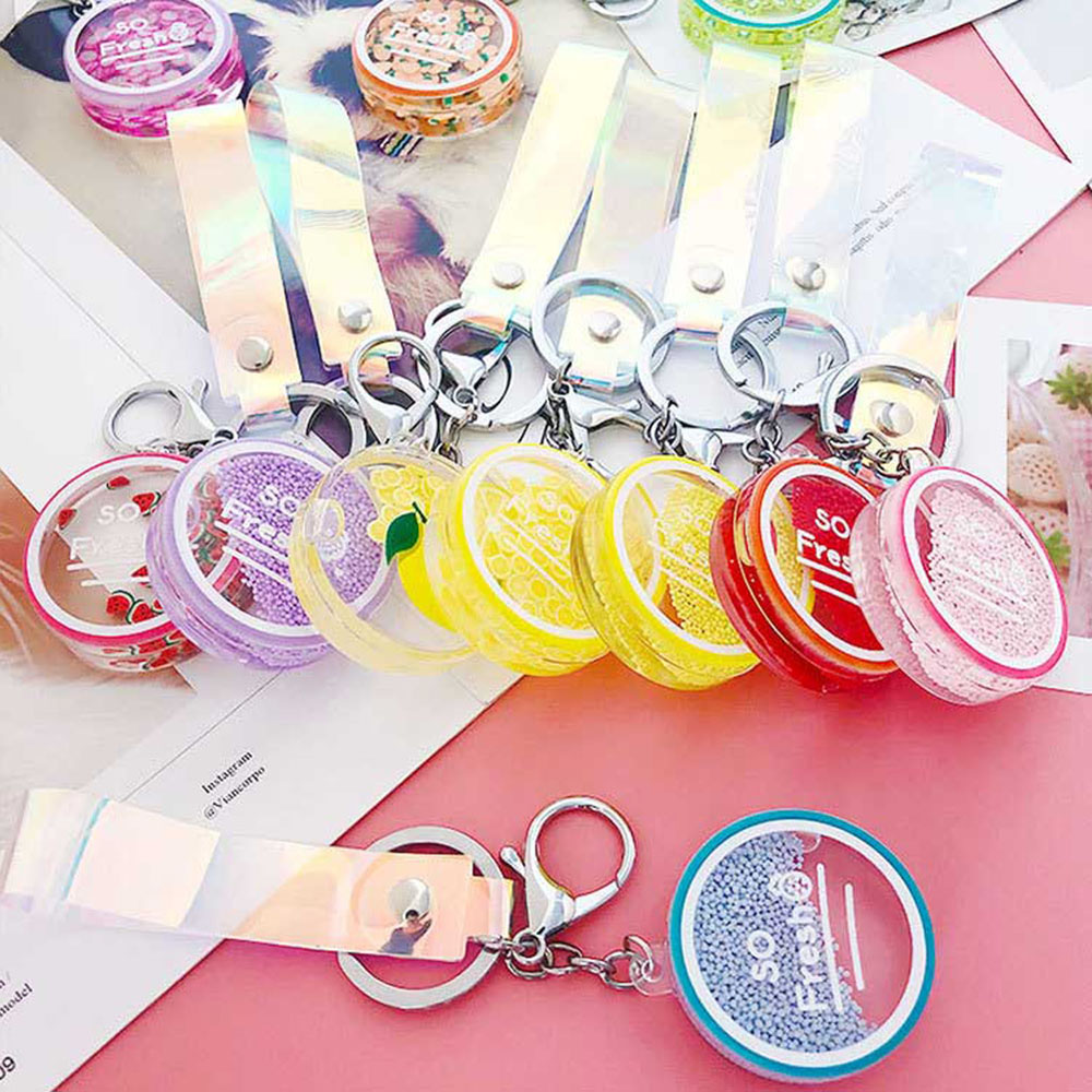 Korean Cute Fruit Quicksand Bottle Keychains Moving Liquid Keychain Car Bag Keyring Keychain Women Trinket Lovely Rope Gifts