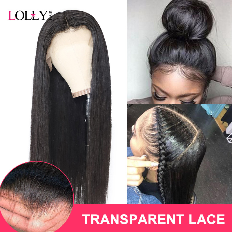 Lolly Hair 13x4 150% Malaysian Transparent Straight Lace Front Human Hair Wigs Pre Plucked Remy Human Hair Wigs For Black Women
