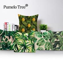 Cactus 45X45CM Linen Tropical Plant leaf Throw Pillow Case Sofa Car Cushion Cover Household Bedroom Decorative Home Love Letter