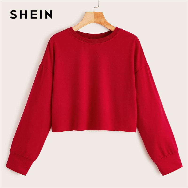 SHEIN Drop Shoulder Raw Hem Crop Sweatshirt Solid Pullover Women Summer Autumn Long Sleeve Round Neck Basic Casual Sweatshirts