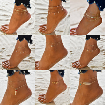 Layered Anklets Women Heart Gold Ankle Bracelet Charm Beaded Dainty Foot Jewelry for Women and Teen Girls Summer Barefoot Beach
