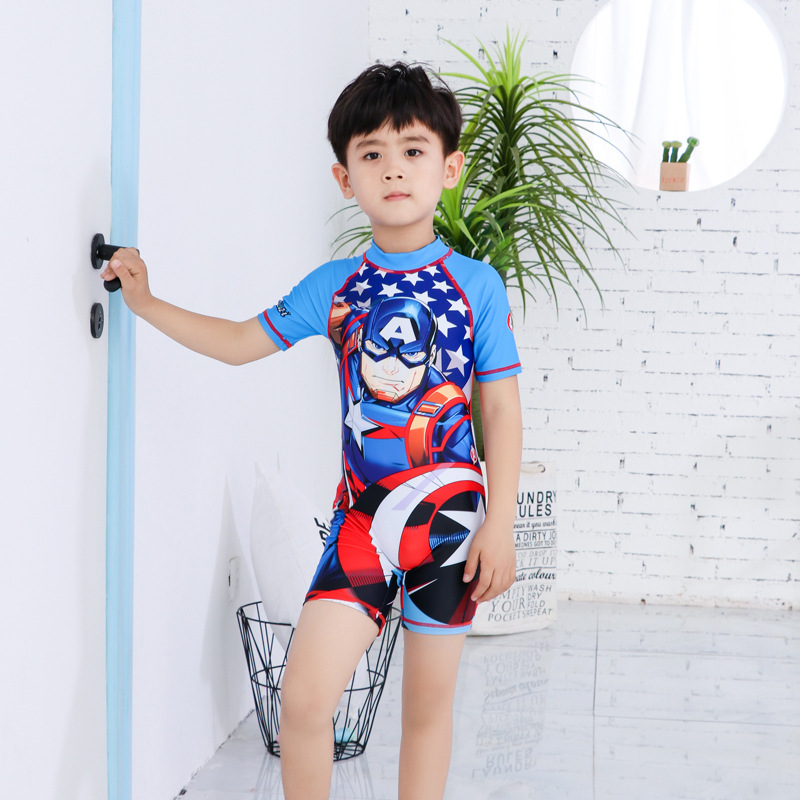 2019 New Style KID'S Swimwear Big Boy Cartoon Boy Tour Bathing Suit BOY'S Swimming Trunks Split Type Set Baby Bathing Suit