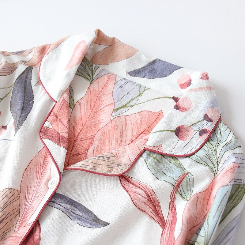 Image 5 - Women Long Sleeve Nightwear Autumn 100% Cotton Knitted Pajama Set Turn down Collar Leaves Printing Pajamas Loungewear SleepwearPajama Sets   -
