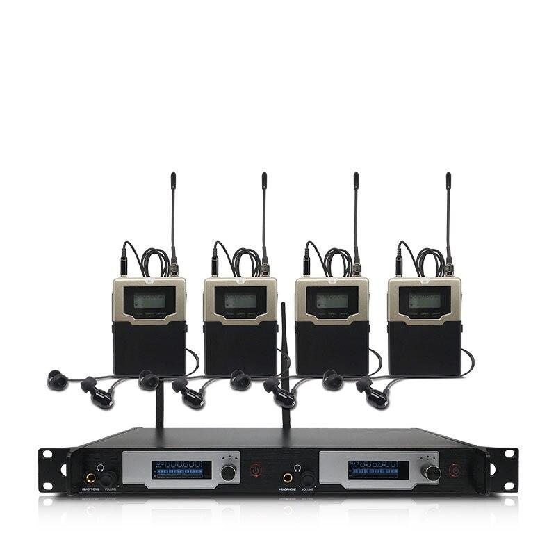 Wireless in-ear monitoring system 2 kanäle und 2 bodypack monitore, mit in-ohr drahtlose überwachung typ für bühne