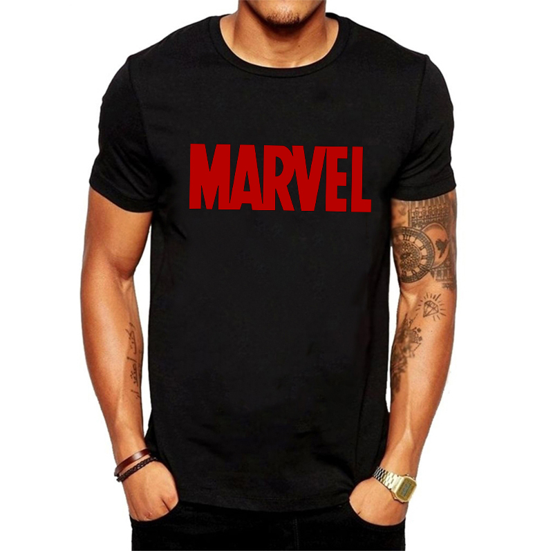 LUSLOS Fashion Men's T Shirt The Avengers Marvel Tshirt Casual Round Neck Male Boys Tops Tees White Black Men T-shirt Streetwear