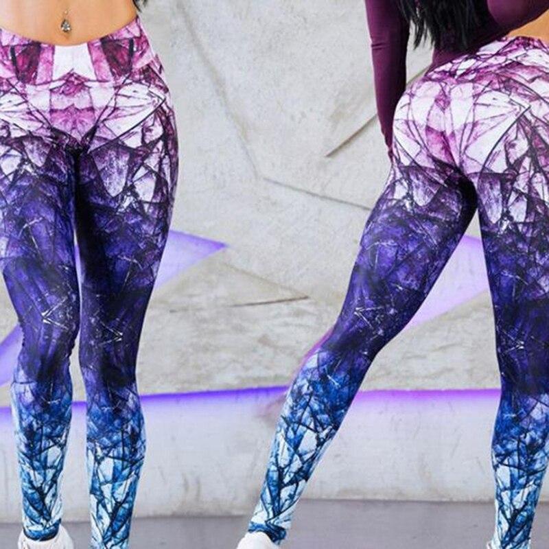 New High Waist Push Up Leggins Mujer Fitness Leggings Flower Print Leggings Slim Purple Woven Print Trousers Women'S Pants