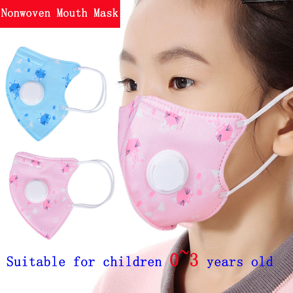2pcs (pink+blue) Children Printing Nonwoven Mouth Mask Anti -Dust Face Mask  PM2.5 Folding Type Particulate Respirator