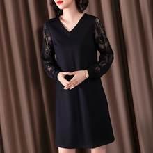 Senhoras elegante cor sólida magro vestido de manga comprida feminino preto sexy rendas com decote em v temperamento versátil vestido de costura oca
