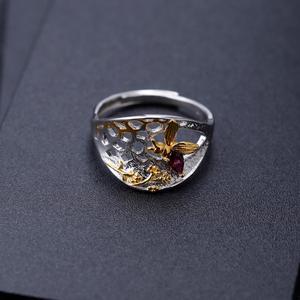 Image 3 - GEMS บัลเล่ต์ 925 เงินสเตอร์ลิง Golden Honeycomb แหวน 0.28Ct Rhodolite NATURAL GARNET Handmade แหวนสำหรับเครื่องประดับ