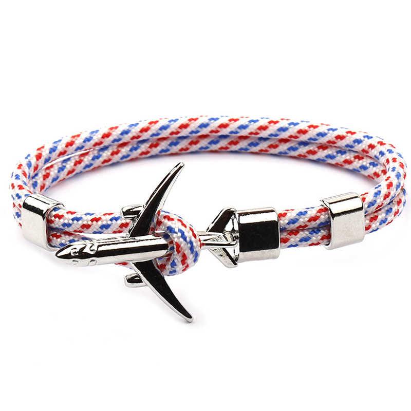 Klassieke Rode Vliegtuigen Armband Multilayer Touw Ketting Armband Voor Boy Girl Vrouwen Mannen Marine Stijl Gift