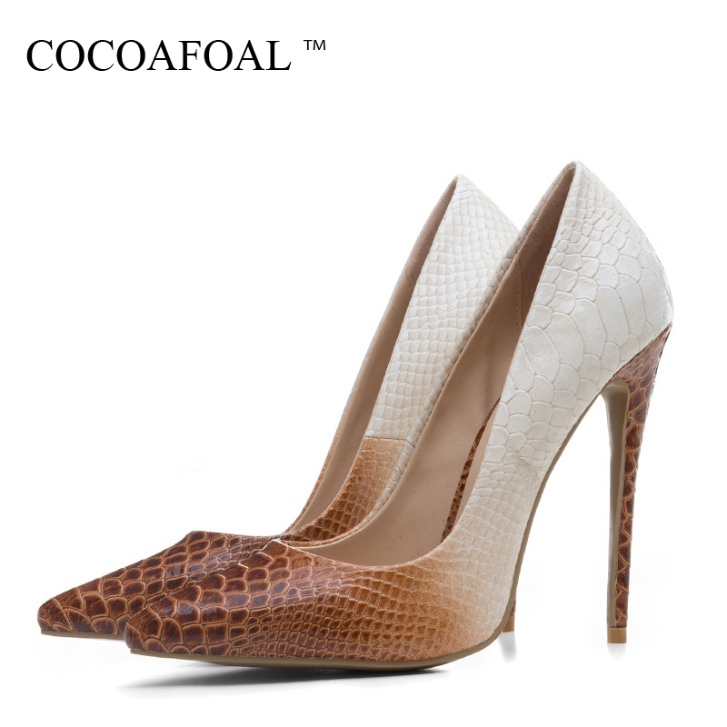 Cocoafoal Woman Wedding <font><b>Pumps</b></font> Plus Size 33 - 43 Sexy Ultra High Heels Shoes Party Stiletto Snakeskin Pattern Red <font><b>12</b></font> <font><b>Cm</b></font> <font><b>Pumps</b></font> image
