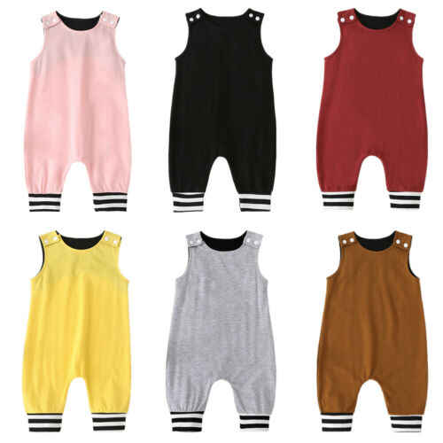Cute Newborn Baby Boy Girl Rompers Solid Sleeveless Playsuits Jumpsuit Outfits 0-18M Clothes