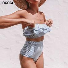 INGAGA 2020 costumi da bagno a fascia da donna Bikini a vita alta Set costume da bagno Sexy con volant stampa a righe Biquini costumi da bagno estivi da spiaggia