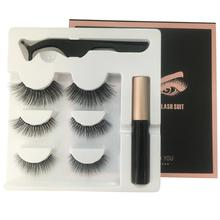 Liquid Eyeliner+3Pairs 3D Magnetic False Eyelashes +Tweezer Set Long Lasting Eyelash Extension