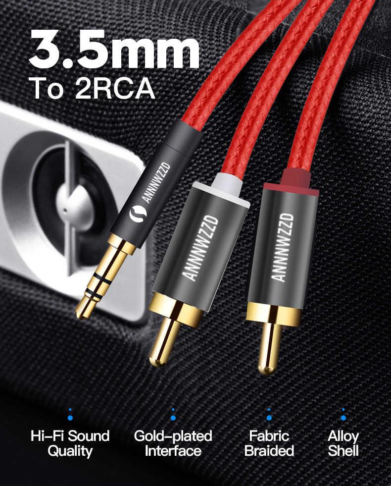 كابل RCA 2RCA إلى 3.5 الصوت كابل 3.5 مللي متر جاك rca كابل مساعد 0.5m 1m 2m 3m 5m للهاتف Edifer المسرح المنزلي DVD 2RCA الصوت كابل