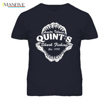 Quints Shark Fishing Movie Amity Island Jaws T-Shirt discout hot new fashion t shirt  top free shipping 2019 officia