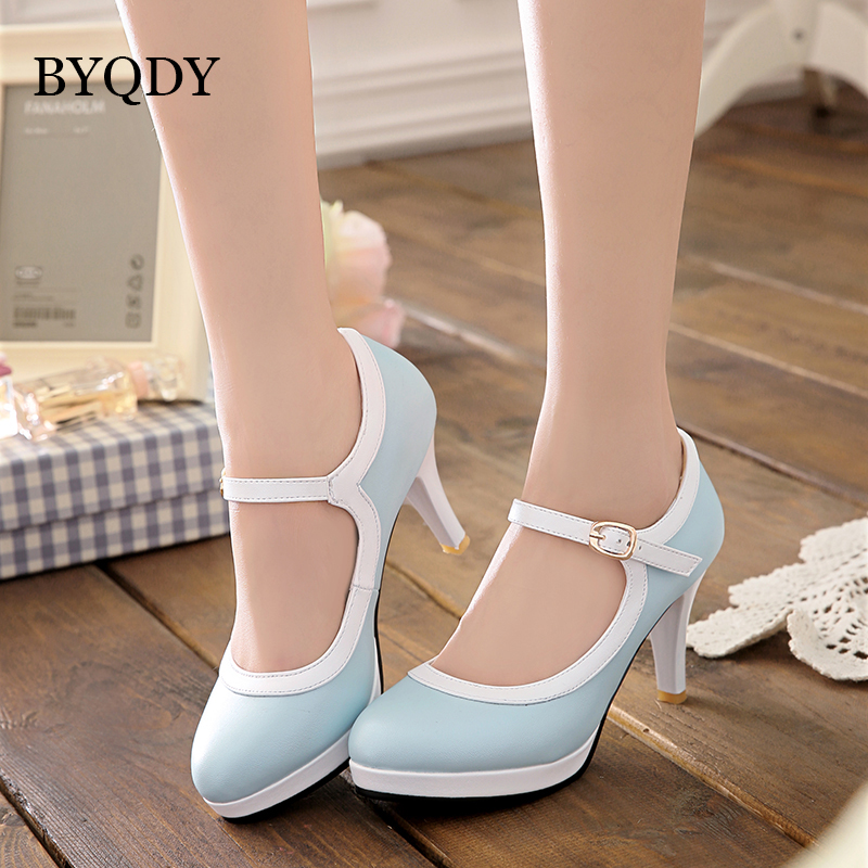 BYQDY Lolita Women Wedding Shoes High Heels Blue Japanese Mary Janes Shoes Sweet Heels Buckle Strap Dress USA Shoe Plus Size 43