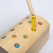 Wooden Toys Catch The Worm Game Magnetic Games Wooden Blocks Kids Early Learning Educational Toys For Children Boys early educational toys wooden toys 32 piece set magnetic fishing game table game for children kids