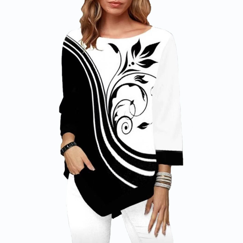 Women Blouse Shirt Floral Printed Asymmetric Hem Autumn Shirt For Woman Flower Print Tops O Neck Blusas Fashion Female Camisa