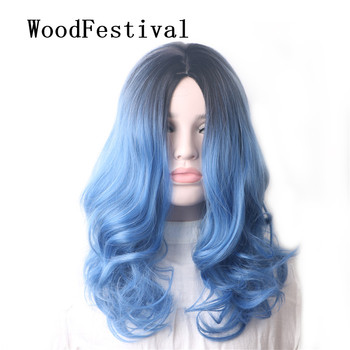 WoodFestival Womens Heat Resistant Cosplay Wig Curly Synthetic Hair Wigs for women Medium length Rainbow Blue ombre Color woodfestival 20inch women wigs hair heat resistant black to navy blue curly synthetic wig cosplay