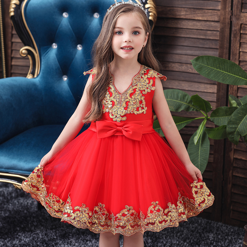 Flower Girl Wedding Party Holy Communion Sequin V-neck Dress Baby Girl Anniversary Baptist Party Dress Vestidos De Fiesta