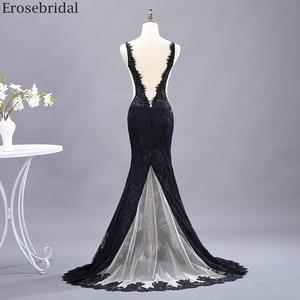 Image 2 - Erosebridal Sexy See Through Mermaid Prom Dress Long Black Lace Evening Dress Deep V Neck Open Back Front Split Formal Dress