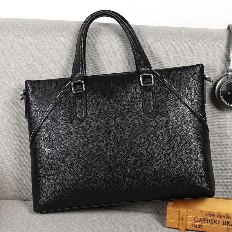 Luxury Designer Briefcase Handbag Genuine Leather Man Shoulder Bag Cowskin Messenger Office Bag Business Bag Men Bolsa Masculina